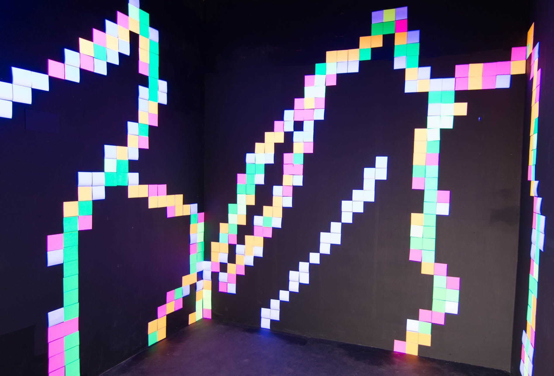 Fluro Pixel Squares, image 7a -white light