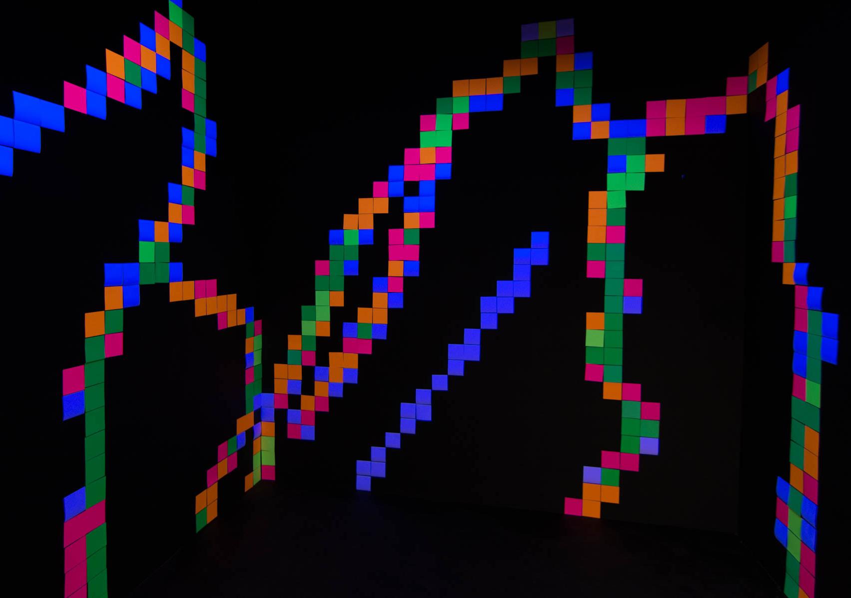 Fluro Pixel Squares, image 7b -black light